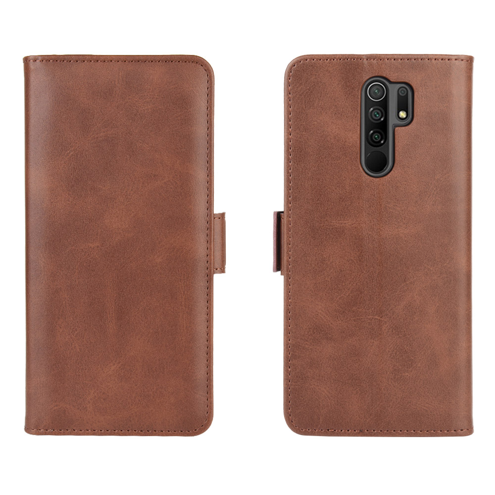 CHUMDIY PU Leather Flip Magnetic Wallet Phone Case for Xiaomi Redmi 9 - Brown
