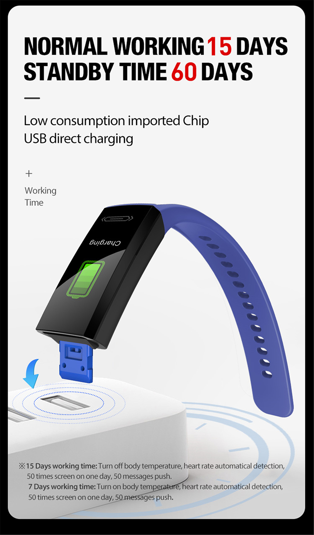 V100S Sports Bracelet Color Screen Bluetooth 5.0 ECG Monitoring Blood Pressure Body Temperature Intelligent Multi Function - Red