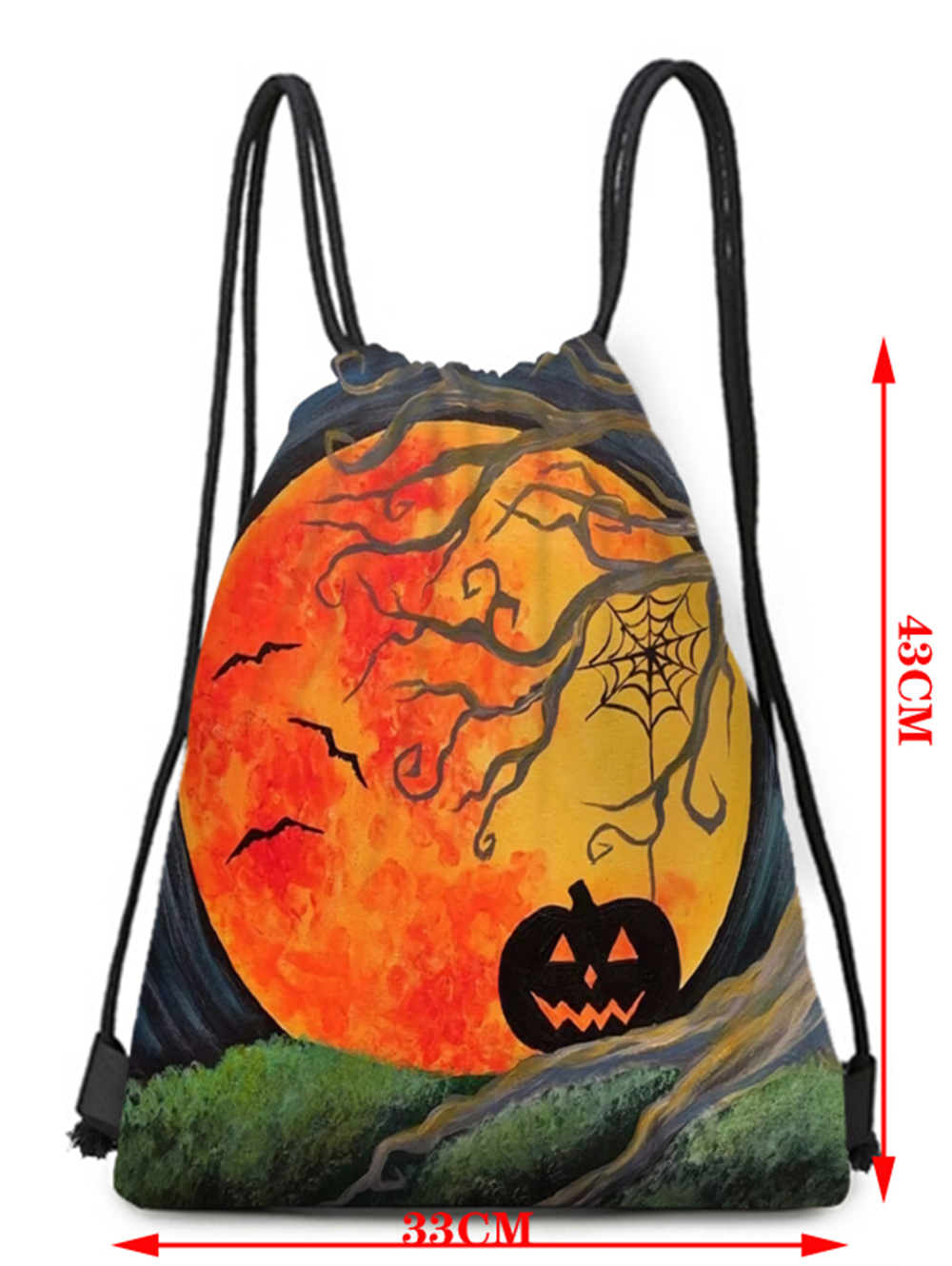 Halloween Element Bat Pumpkin Pattern Bundle Pocket Storage Backpack - Multi