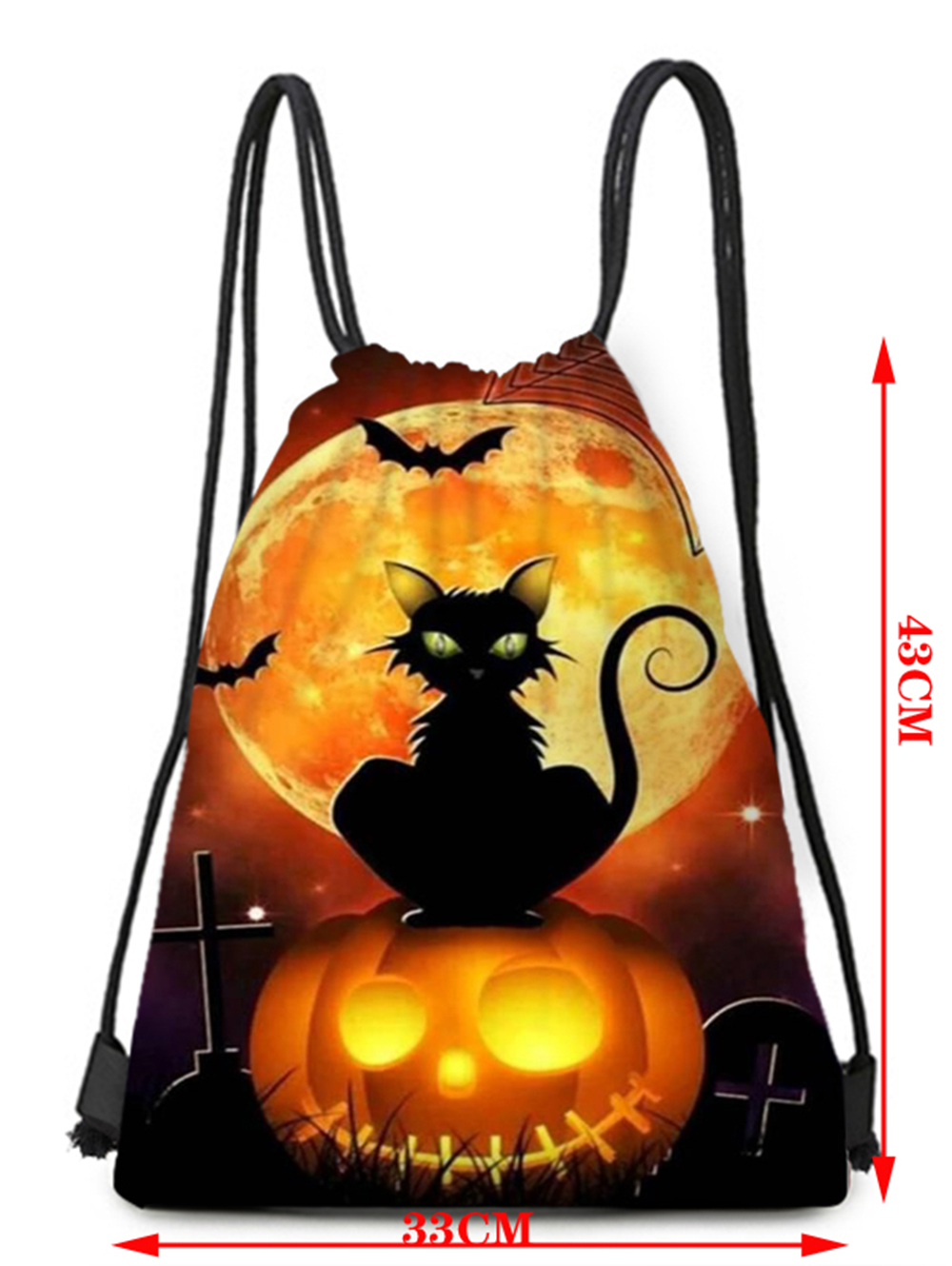 Halloween Element Bat Pumpkin Black Cat Pattern Bundle Pocket Storage Backpack - Multi