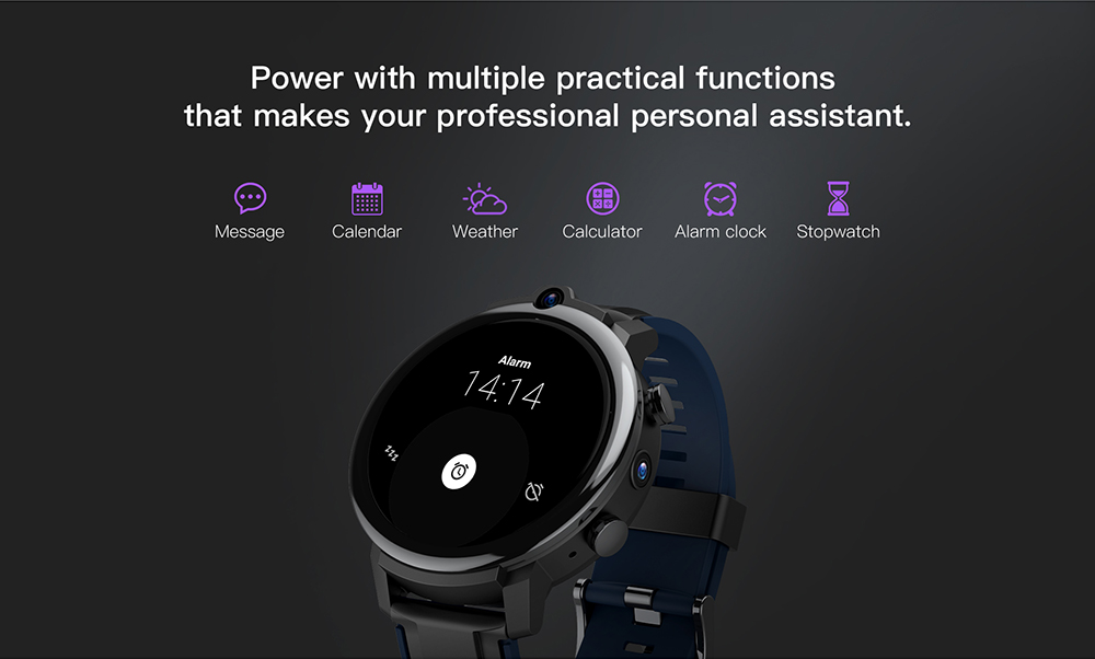 KOSPET Power 4G Watch Phone High Grade Ceramic Bezel 3GB RAM 32GB ROM Face ID Unlock 1.6 inch 400 x 400 HD Display Dual Camera Battery 1800mAh - Black without wireless charger