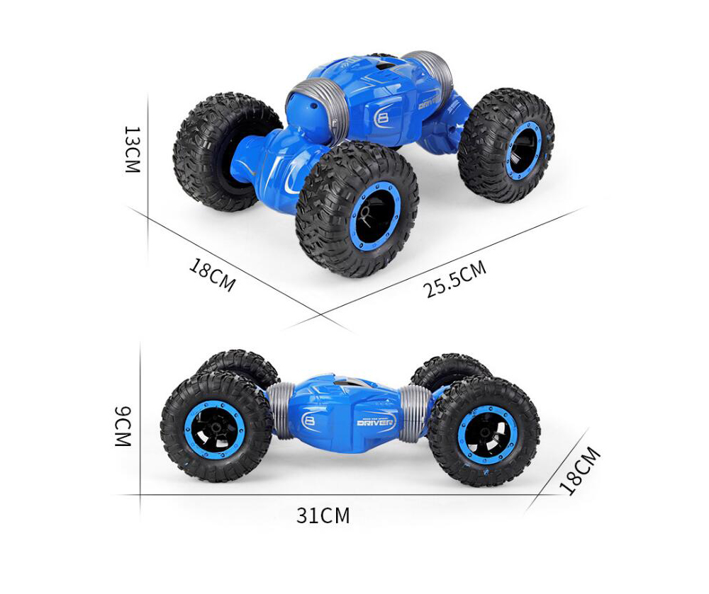 YDJ-D838 Children RC Stunt Car Toy Double-sided Flip Twisted Climbing Vehicle Remote Control Four-wheel Drive Deformed Off-road Twisted Car Flip - Red