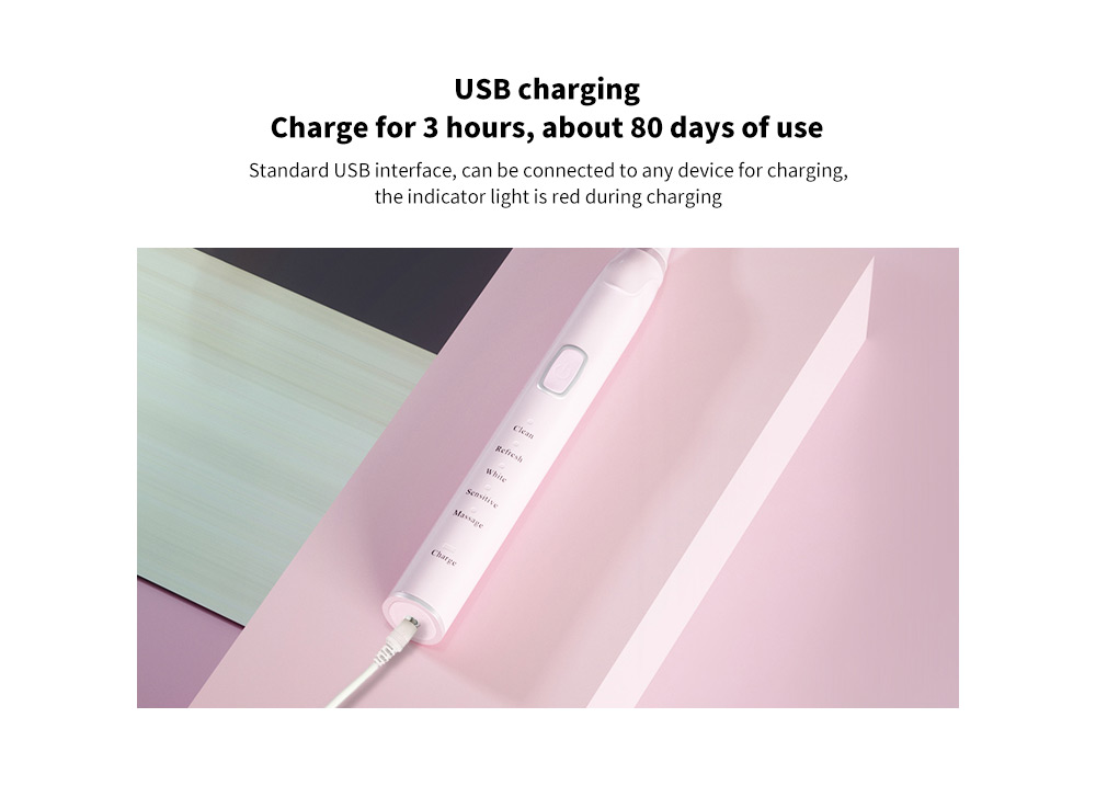 T8 Smart Ultrasonic Electric Toothbrush USB charging