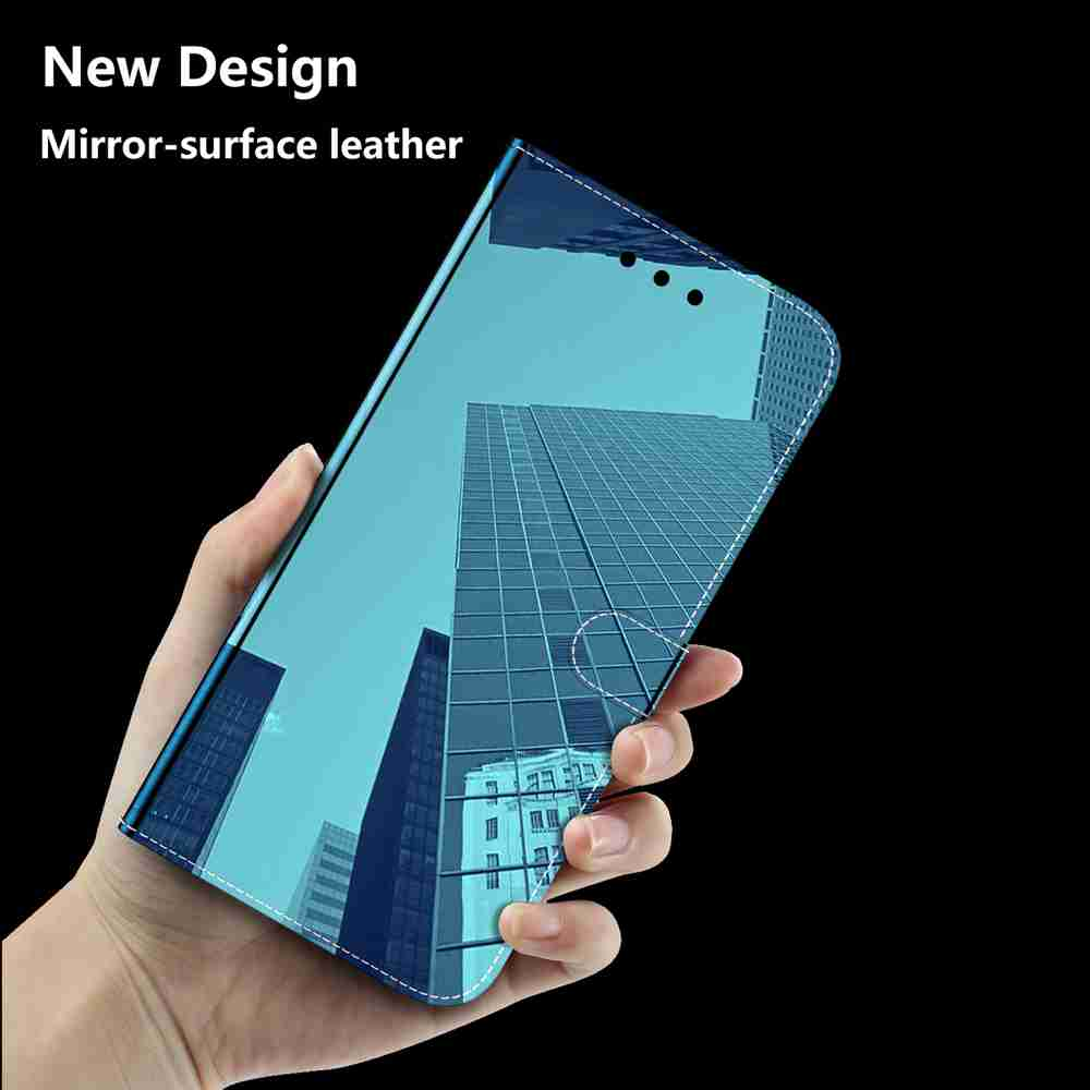 Pure Color Like Mirror Phone Case for iPhone 12  5.4 Inch - Tron Blue