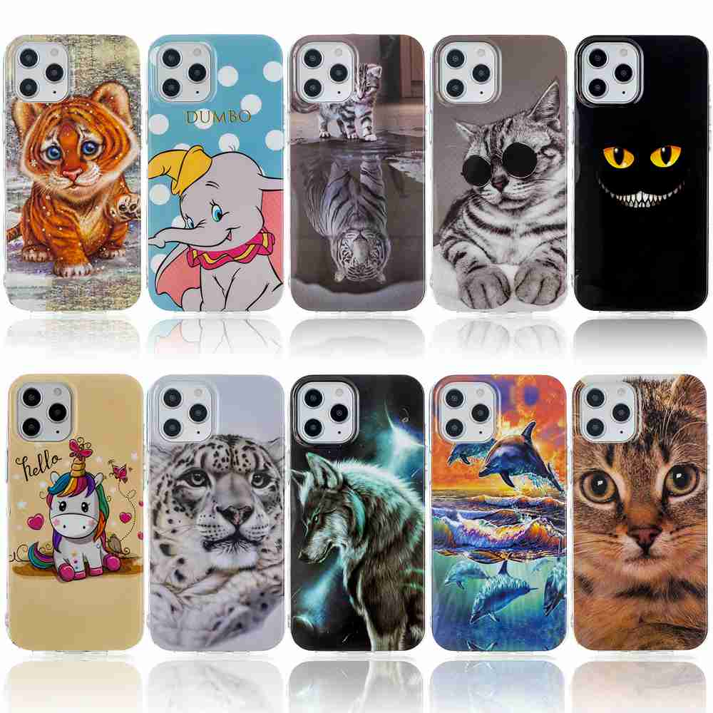 Flat Painted TPU Phone Case for iPhone 12  6.7 Inch - Multi-C