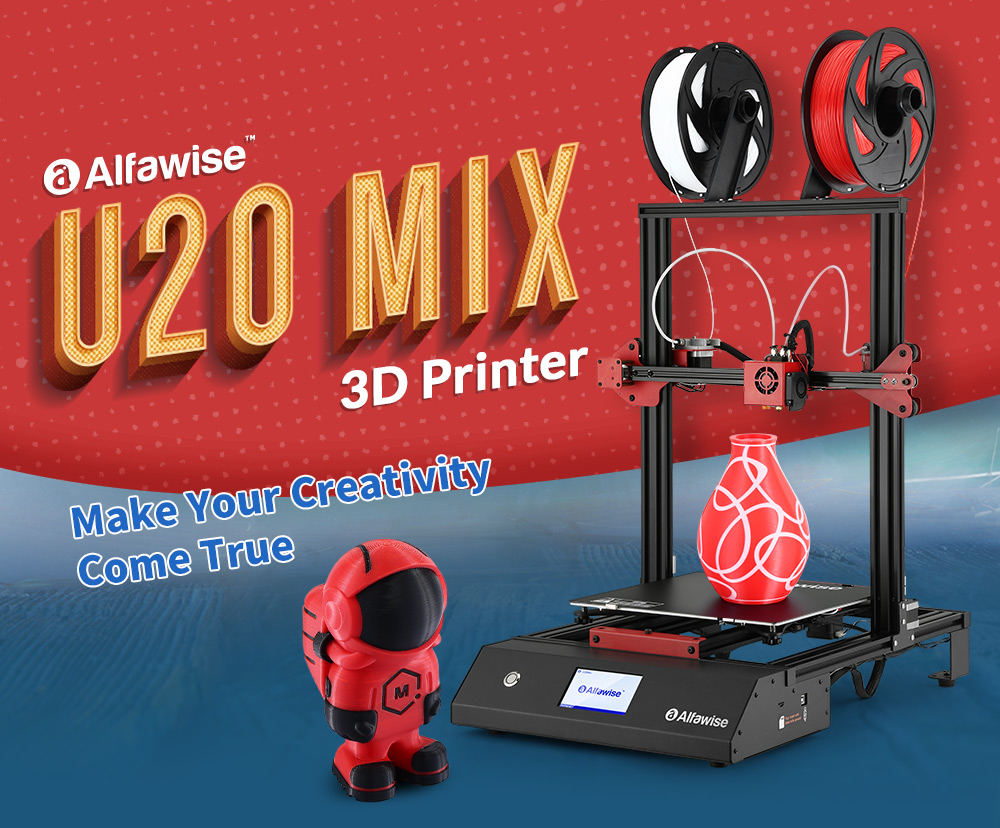 Alfawise U20 Mix 4.3 inch Full Color Touch Screen Control Power-on Self-Test Troubleshooting with WiFi APP Control Function Two-in and One-out FDM 3D Printer - Black U20 Mix EU Plug