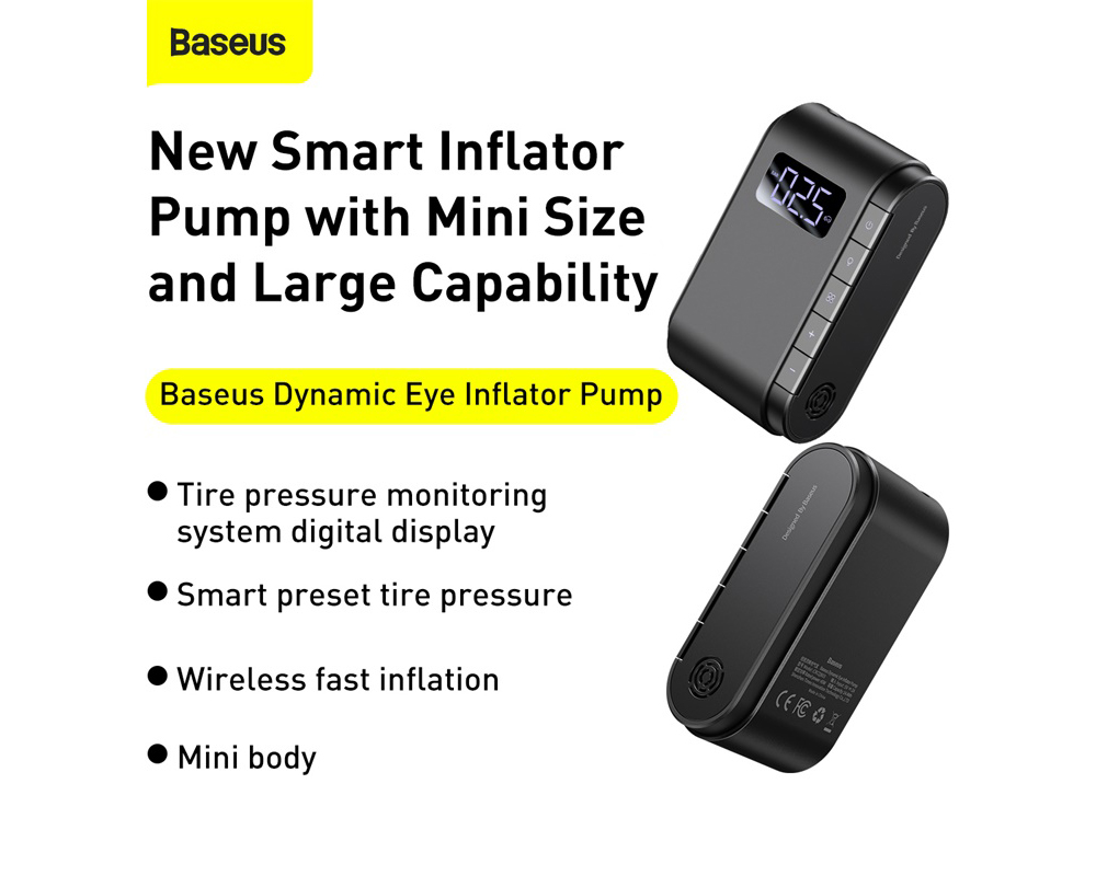 Baseus CRCQB03-01 Car Tires Wireless Inflatable Pump Digital Display Detection Dual-mode Smart Preset Tire Pressure - Black