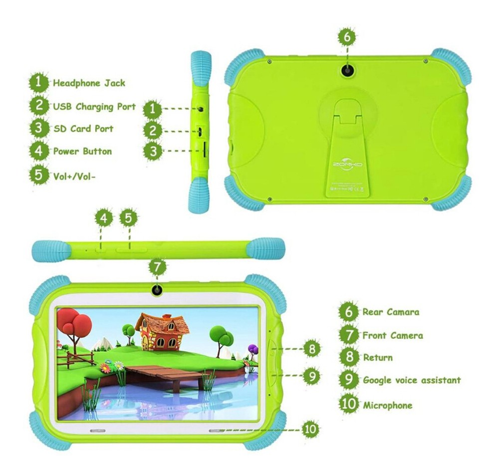 ZONKO K79 Kid Tablet PC 7 inch Android 9.0 2GB RAM 16GB ROM for Children WiFi Quad Core Parental Control Study Game - Pink