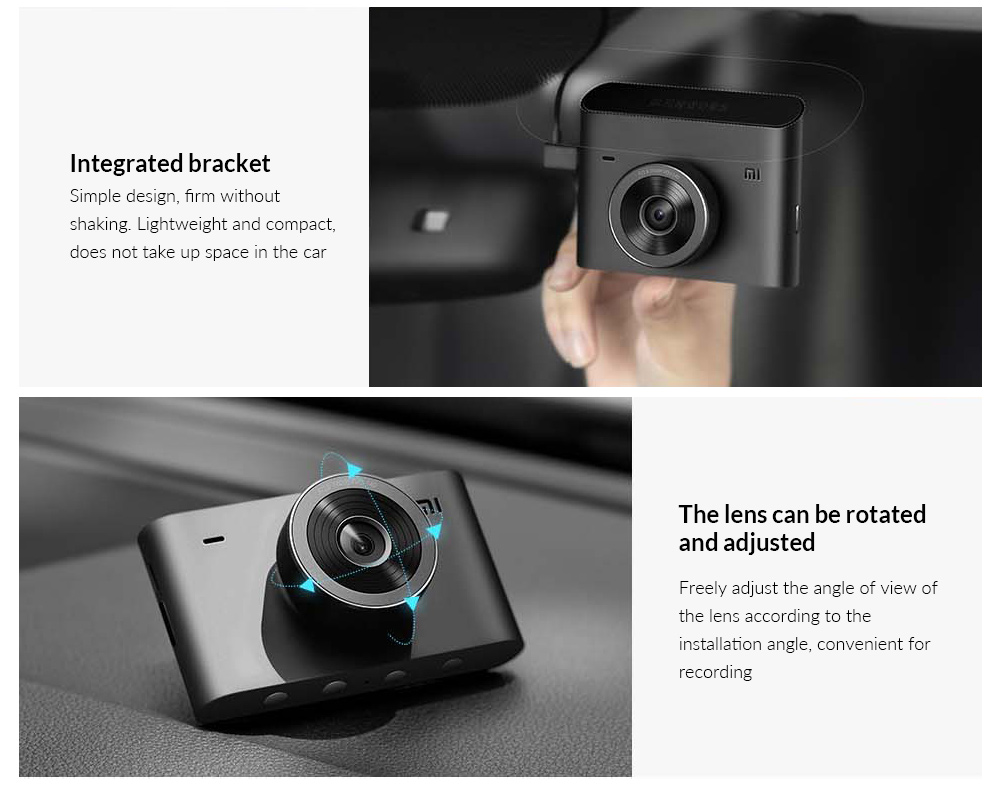 Xiaomi Car DVR Recorder 2 Integrated bracket, The lens can be rotated and adjusted