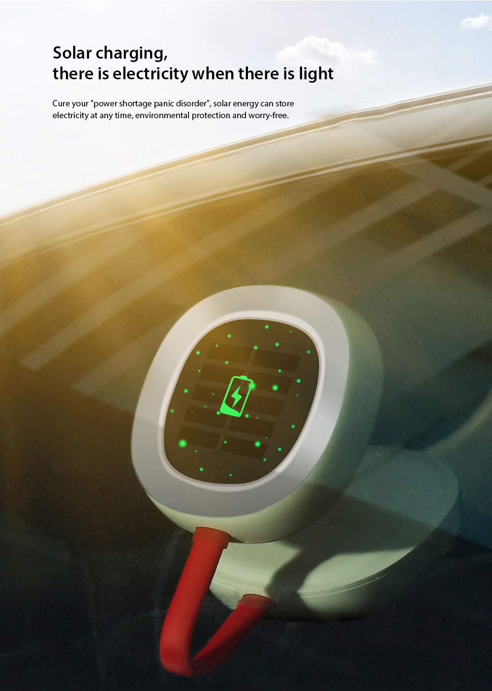 Baseus Solar USB Dual Charging Car Reading Light Solar charging, there is electricity when there is light