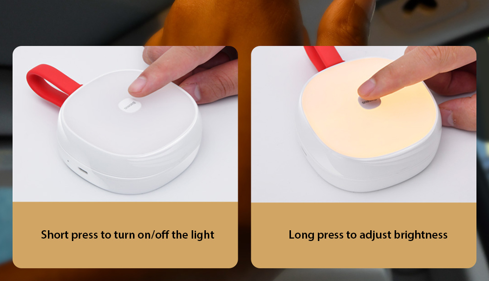 Baseus Solar USB Dual Charging Car Reading Light Touch control interaction, convenient dimming