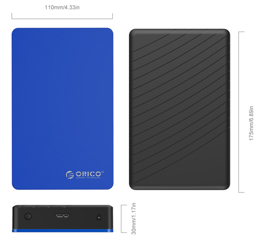ORICO MD35U3-BL 3.5 inch USB3.0 Aluminum Alloy Colorful Mobile Hard Drive Enclosure - Blue US Plug
