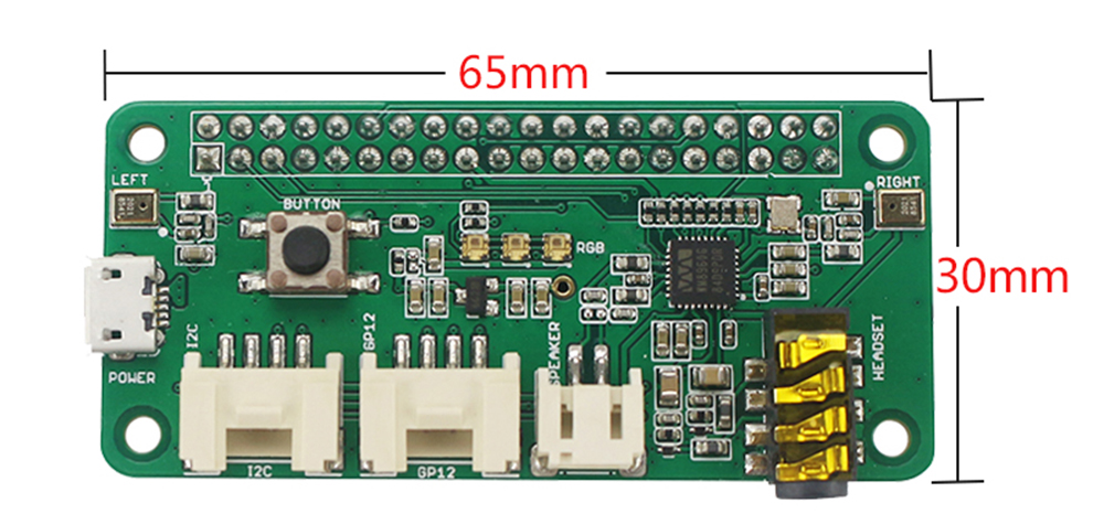 C1656 Voice Recognition Module Dual Microphone Array for Raspberry Pi 0 / 3B / 3B + / 4B - Sea Green