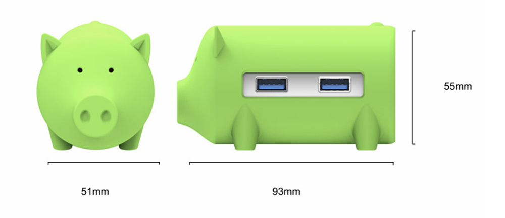 ORICO H4018-U3-GR 3-port USB3.0 Piggy Hub Converter TF / SD Card Slot Card Reader Support OTG Function Cute and Compact Appearance Multi-port USB3.0 Expansion - Green