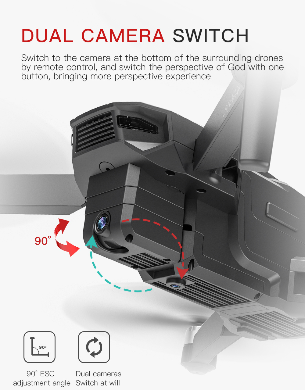 KF107 GPS 5G WiFi 1.2KM FPV with 4K Servo Camera Optical Flow Positioning Brushless Foldable RC Quadcopter Drone RTF - Black One Battery