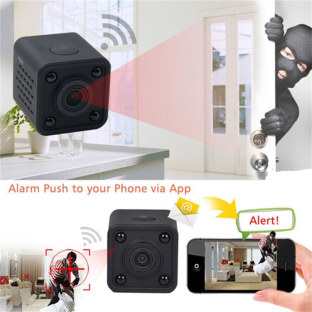 1080P Wireless Camera Monitoring Mobile Phone Remote Monitoring HD Night Vision Plug-in Storage WiFi HD Webcam - Black