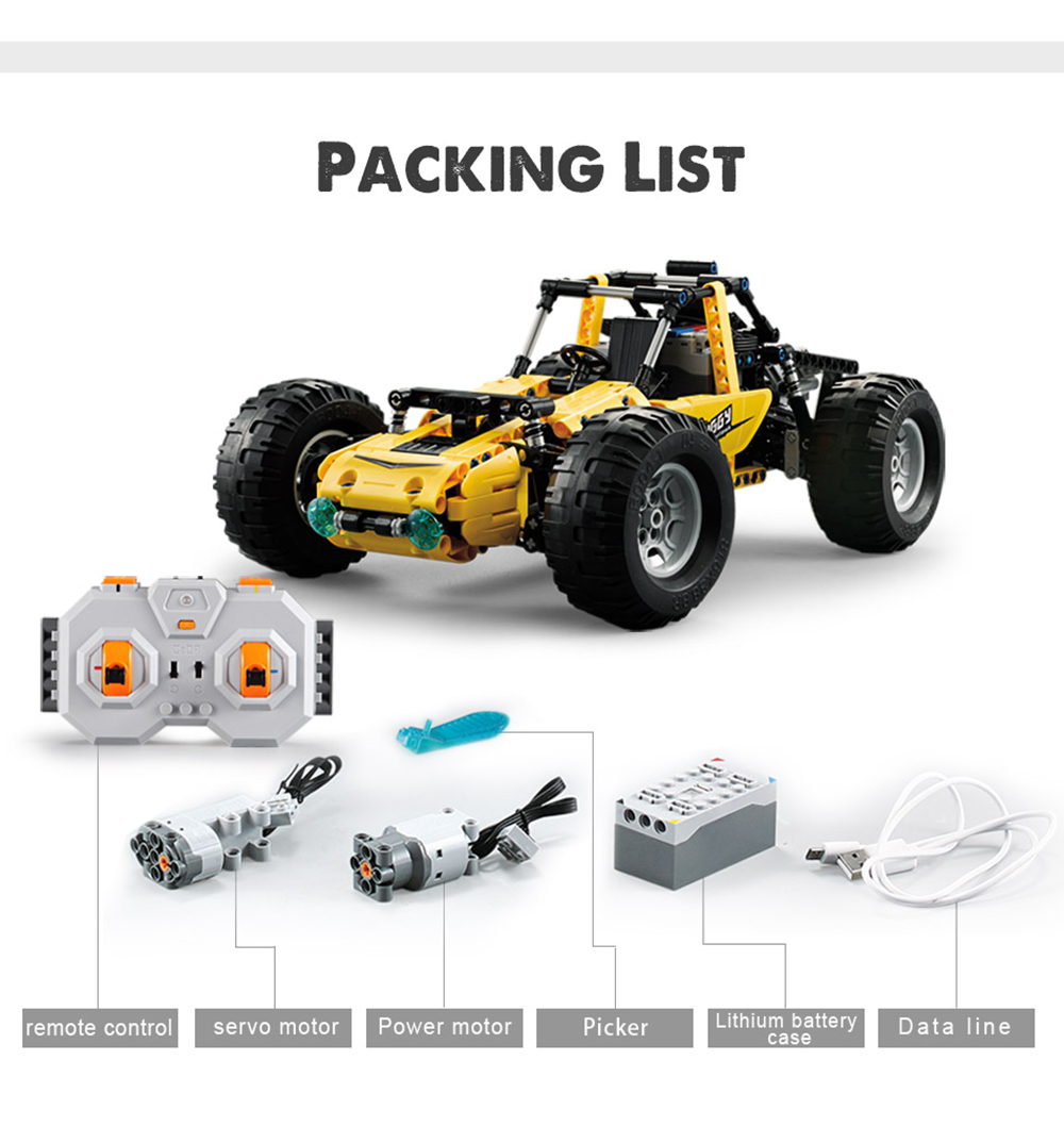 2.4Ghz Climbing Trucks Technic City RC Racing Car All Terrain Off-Road Building Blocks Bricks Toys for Kids 522pcs - Yellow