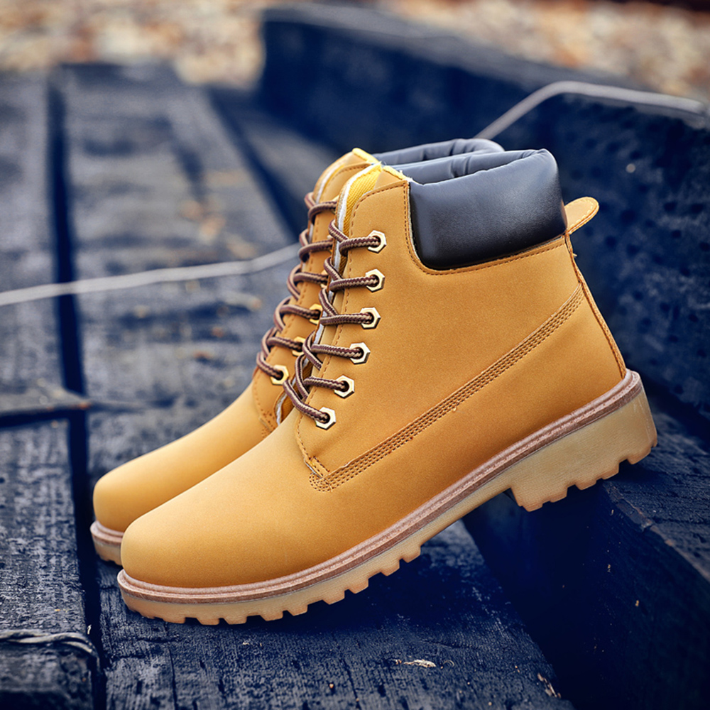 Fashion Men Outdoor Waterproof Rubber Snow Boots Leather Boot Lightweight Shoes - Brown EU 45