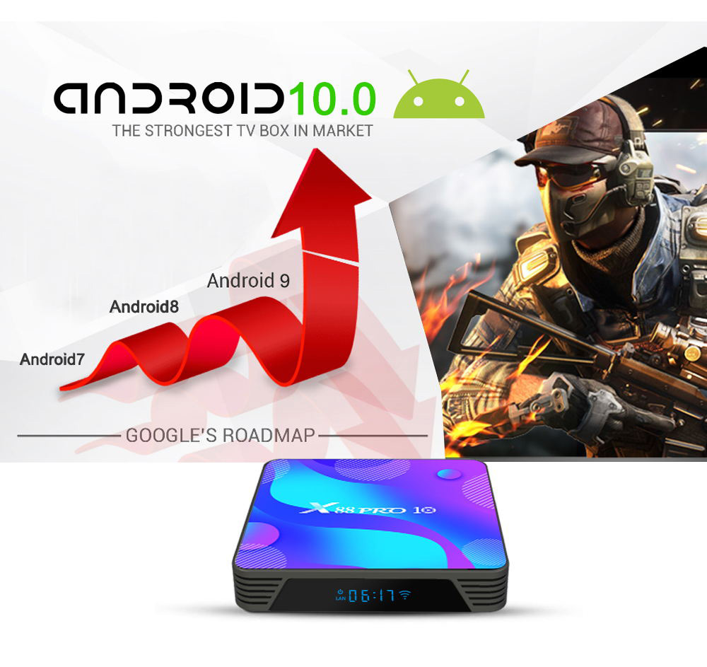 X88 Pro 10 Media Player Android 10.0 Smart 4K TV Box - Multi 2GB RAM+16GB ROM EU plug