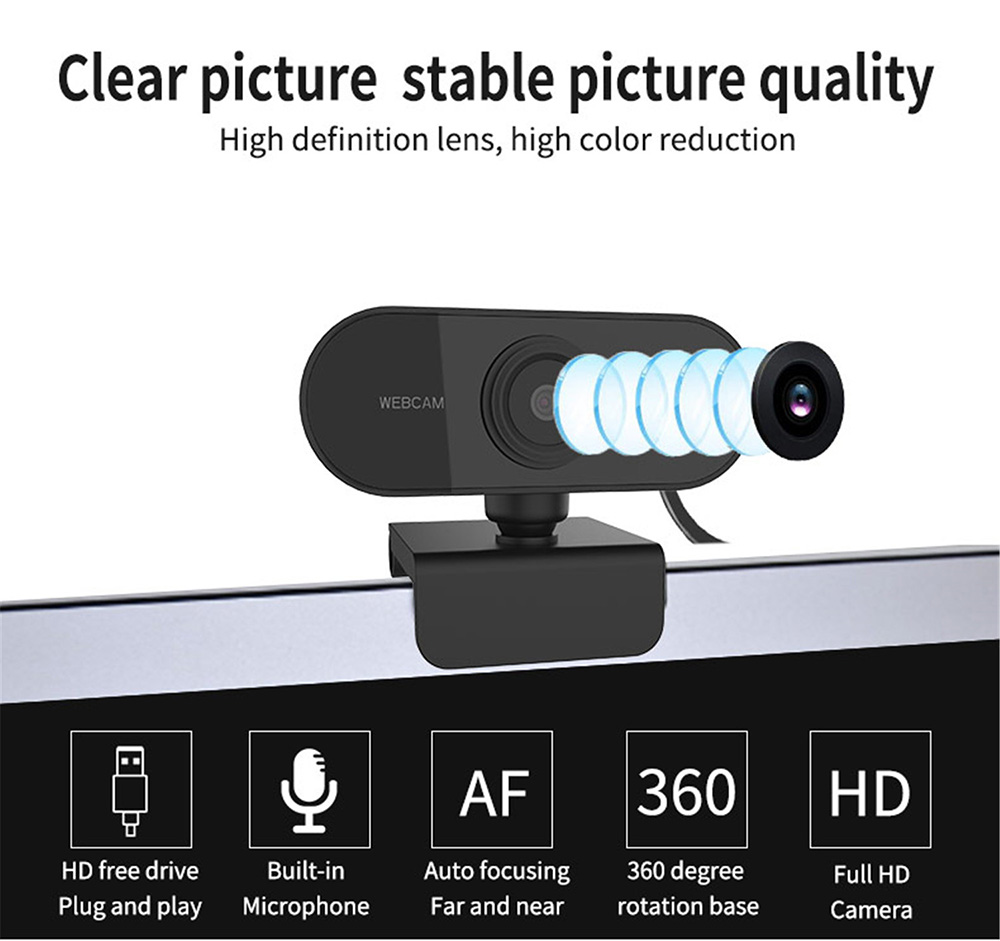 C1 1080P HD PC Camera Webcam - Black