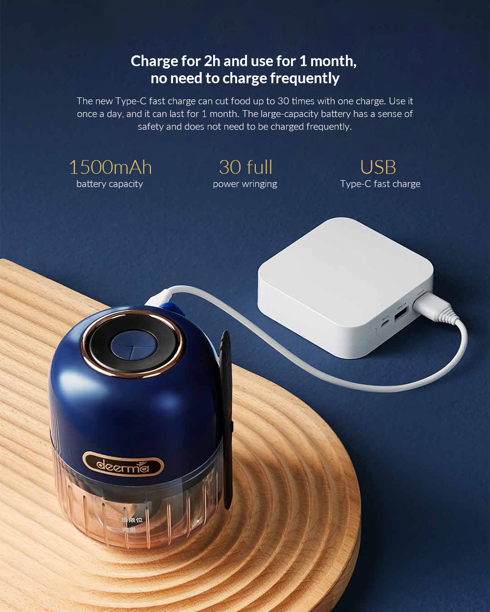 Deerma JS200 Wireless Portable Food Processor Charge for 2h and use for 1 month, no need to charge frequently