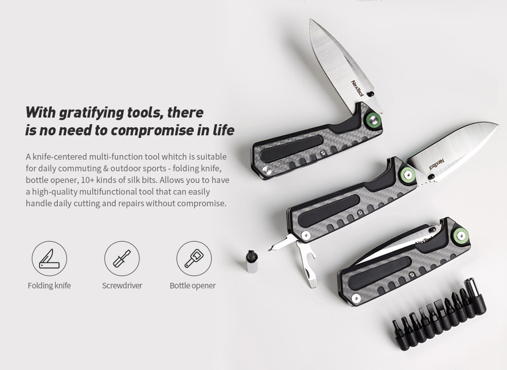 NEXTOOL Multi-function Folding Knife With gratifying tools, there is no need to compromise in life