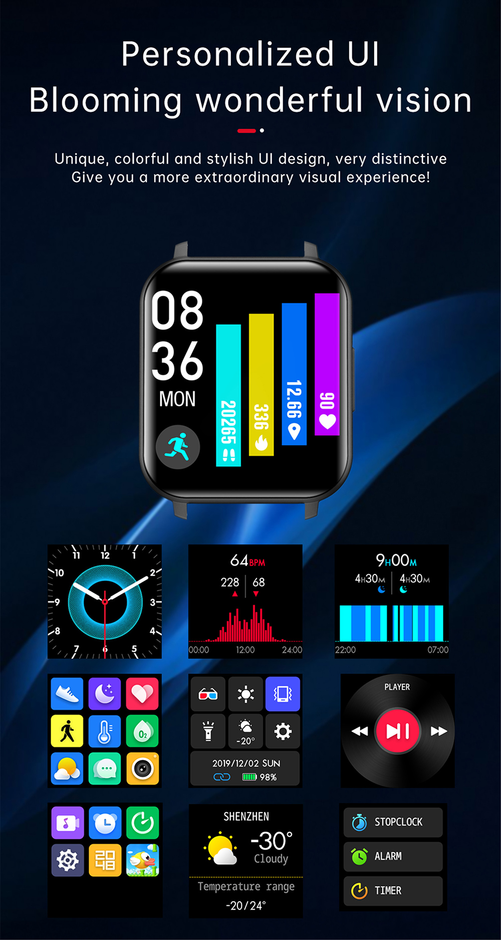 T82 1.55 inch Large Screen Smart Watch - Red