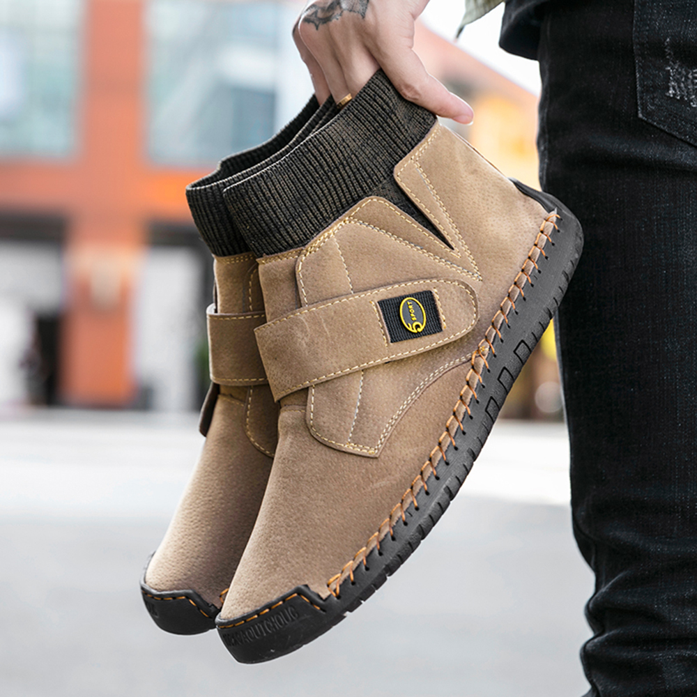 Men Fashion Casual Leather Shoes High Slip on Ankle Boots Outdoor Walking Shoes - Black EU 48