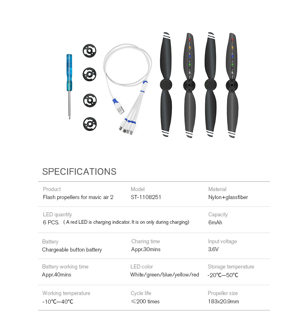 Foldable LED Rechargeable 7238 Noise Reduction Flashing Ring Propeller Blade for DJI Mavic Air 2 - Black