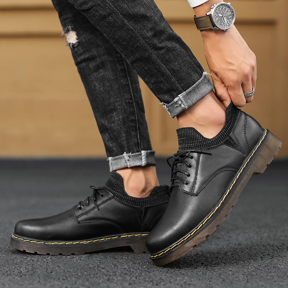 Men Leather Work Casual Shoes Large Pudding Shoes Small Leather Low Heels Oxford - Gray EU 39