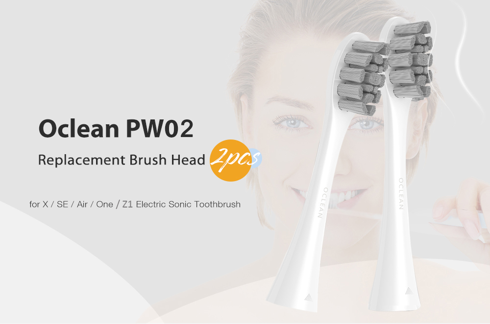 Oclean PW02 Replacement Brush Head for Z1 / X / SE / Air / One Electric Sonic Toothbrush 2pcs - Beige