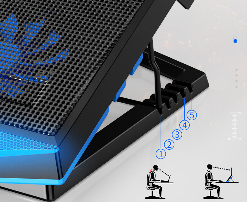 Laptop Cooling Fan Notebook Computer Stand Radiator Pad Multi-speed Adjustment - Blue