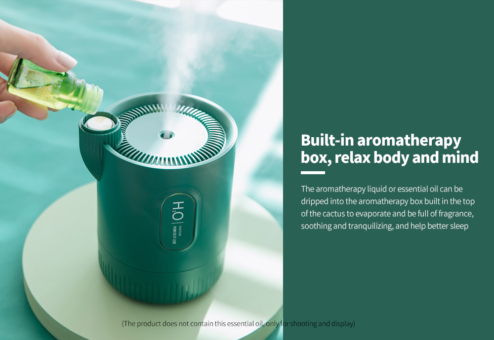 RPH-H828 Cactus Shaped Home Mini USB Aromatherapy Humidifier Built-in aromatherapy box, relax body and mind