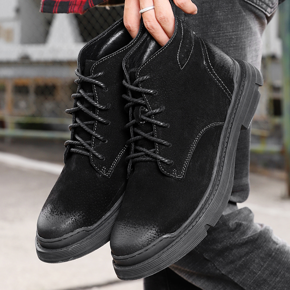 Men Casual Tooling Boots Outdoor Casual Shoes Winter Boots Shoes - Gray EU 38