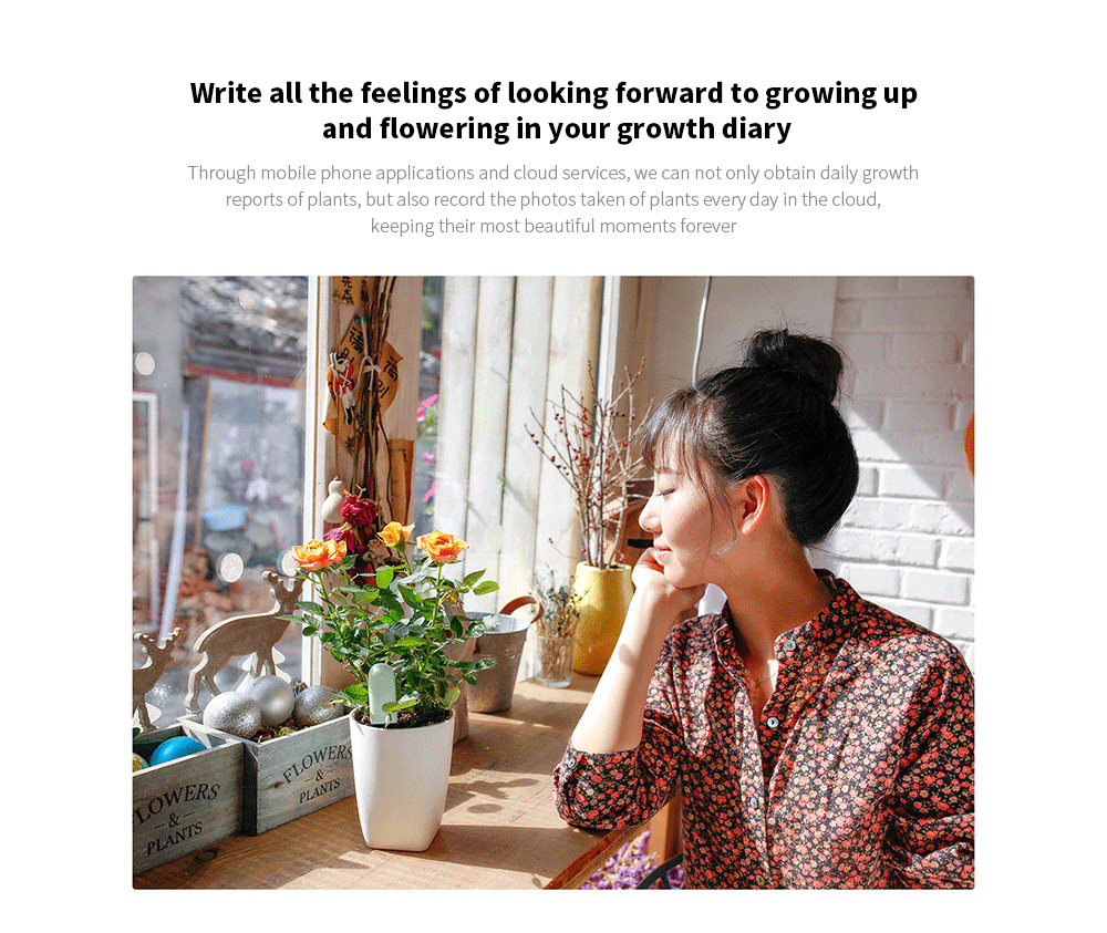 Smart Flora Monitor Write all the feelings of looking forward to growing up and flowering in your growth diary