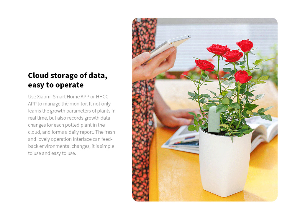Smart Flora Monitor Cloud storage of data, easy to operate