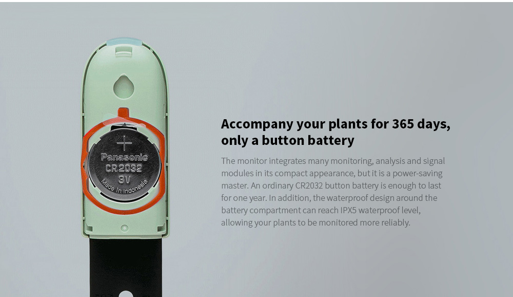Smart Flora Monitor Accompany your plants for 365 days, only a button battery