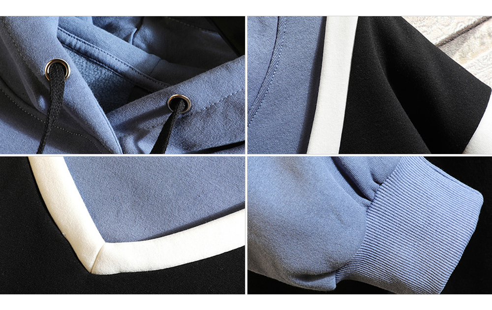 Spring and Autumn Men False Two-piece Hooded Casual Sweatshirt - Denim Blue S