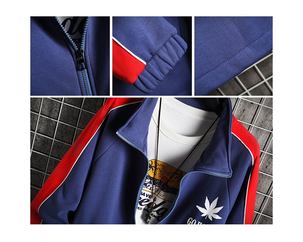 Autumn and Winter Men Long Sleeves Jacket Color Matching Large Size - Khaki S