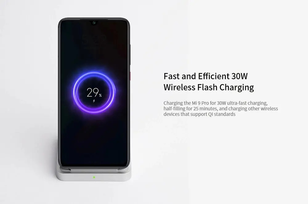 Xiaomi MDY-12-EN Vertical Air-cooled Wireless Charger 55W - Black 55W without  Adapter