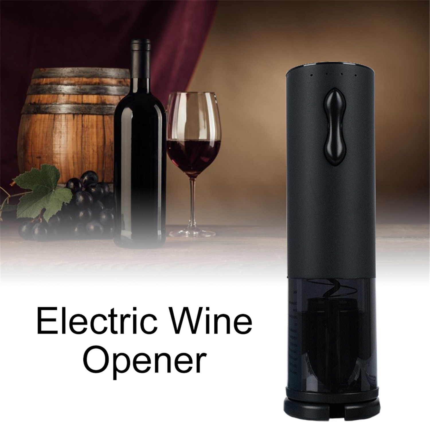 Battery Reminder USB Lithium Rechargeable Wine Bottle Opener Set Multifunctional Bar Drinkware Tool - Black