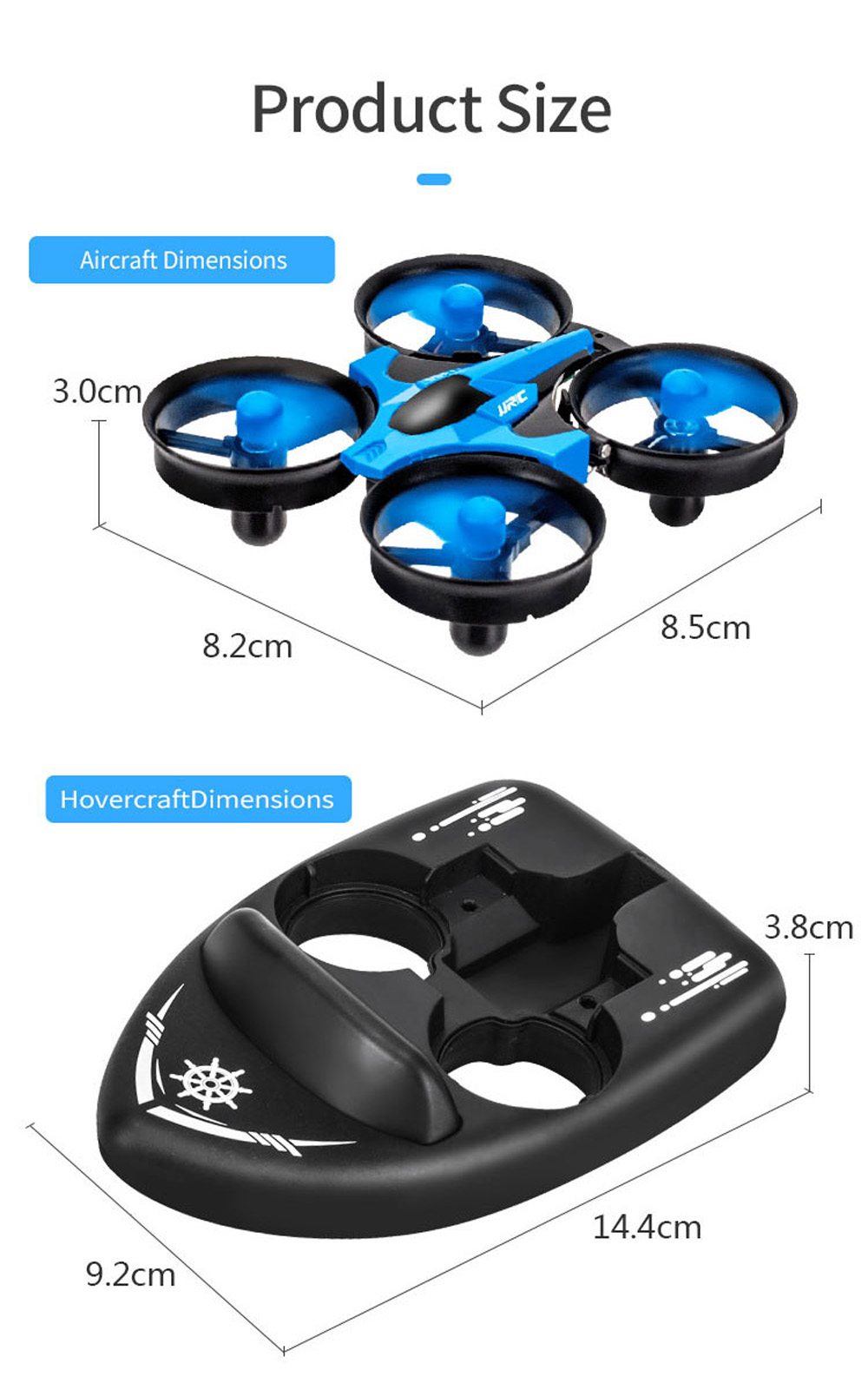 JJRC H36S RC Aircraft Drone Toy - Deep Sky Blue