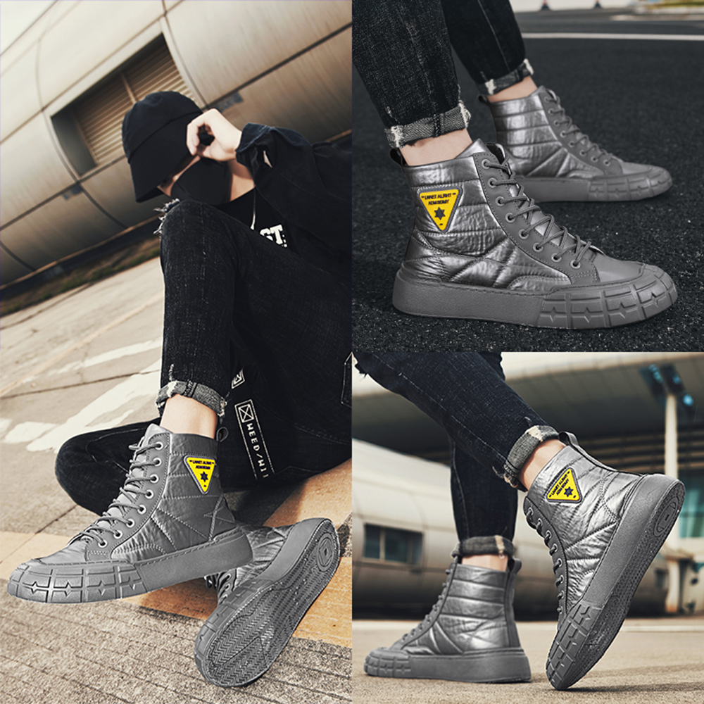 Winter Ankle Boots Men Casual Outdoor Shoes Waterproof Work Boots Tooling Boot - Black EU 42