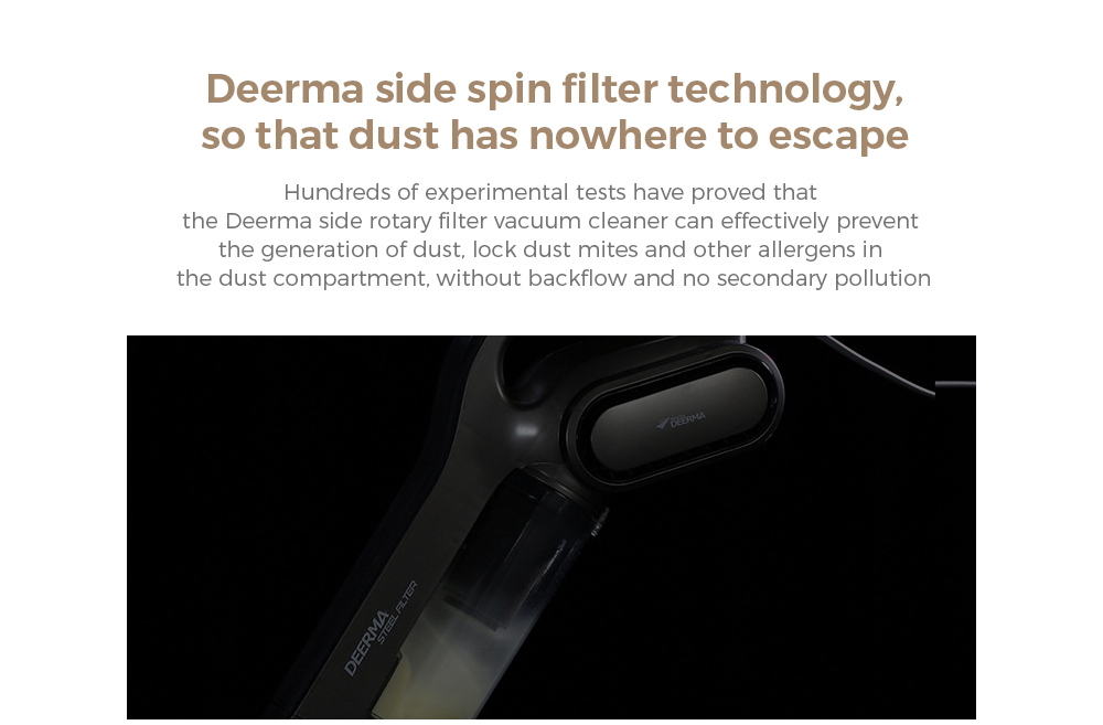 Deerma DEM-DX700S Vacuum Cleaner Deerma side spin filter technology, so that dust has nowhere to escape