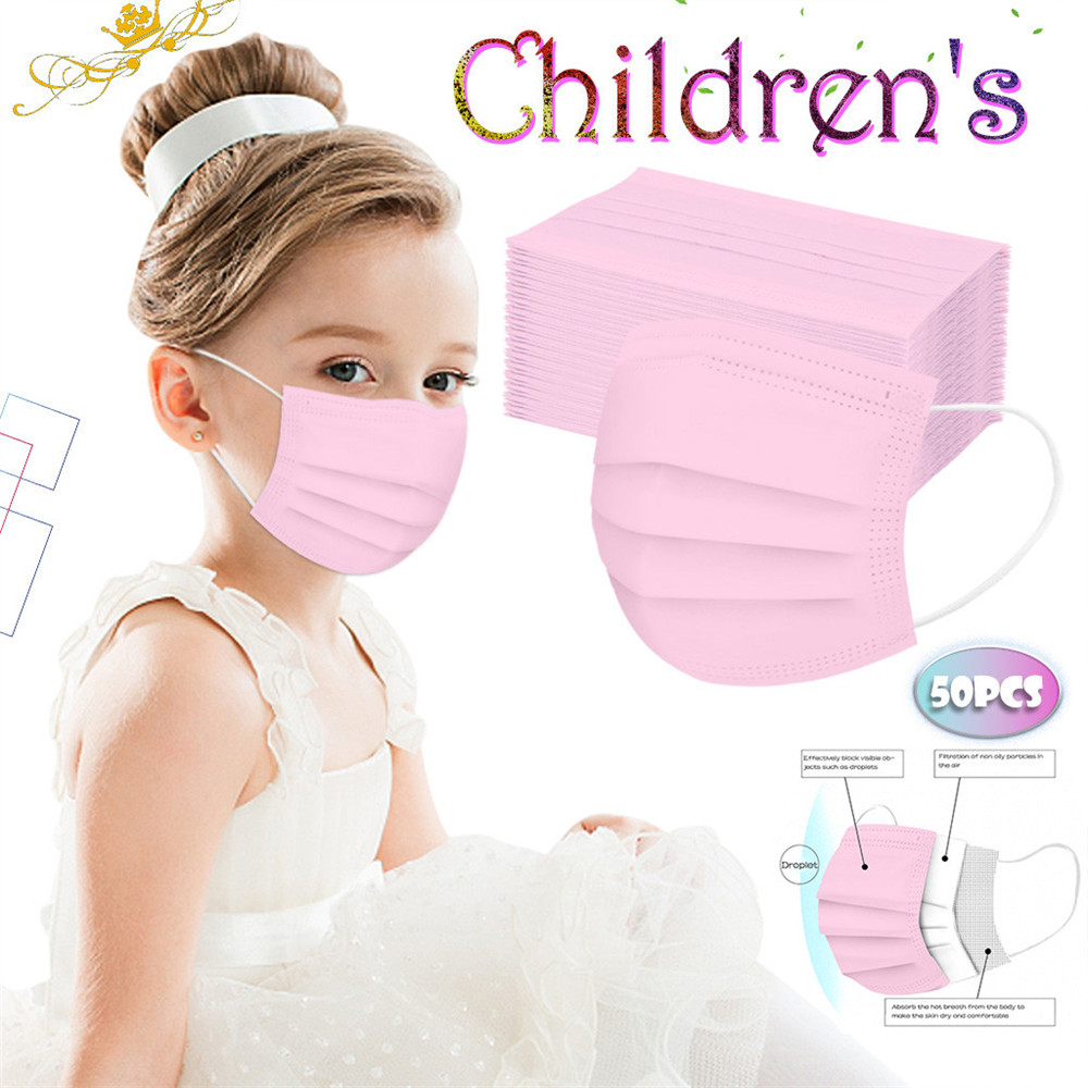 Disposable Boy And Girl Colorful Masks For Children 3-Layer Mask Dustproof 50PCS - Green