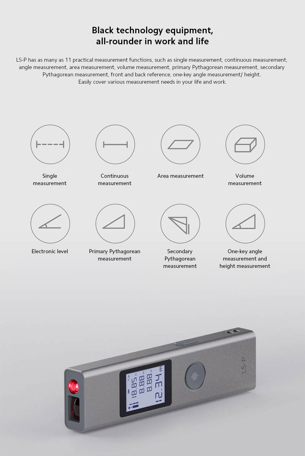 DUKA LS-P Electronic Distance Meter Black technology equipment, all-rounder in work and life