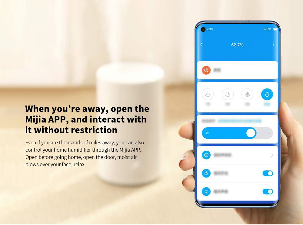 Xiaomi MJJSQ04DY Smart Humidifier When you're away, open the Mijia APP, and interact with it without restriction