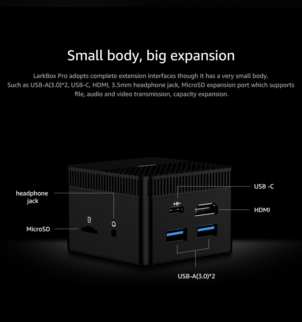 CHUWI LarkBox Pro Portable World Smallest 4K Mini PC - Black 6GB LPDDR4 + 128GB ROM EU  Plug