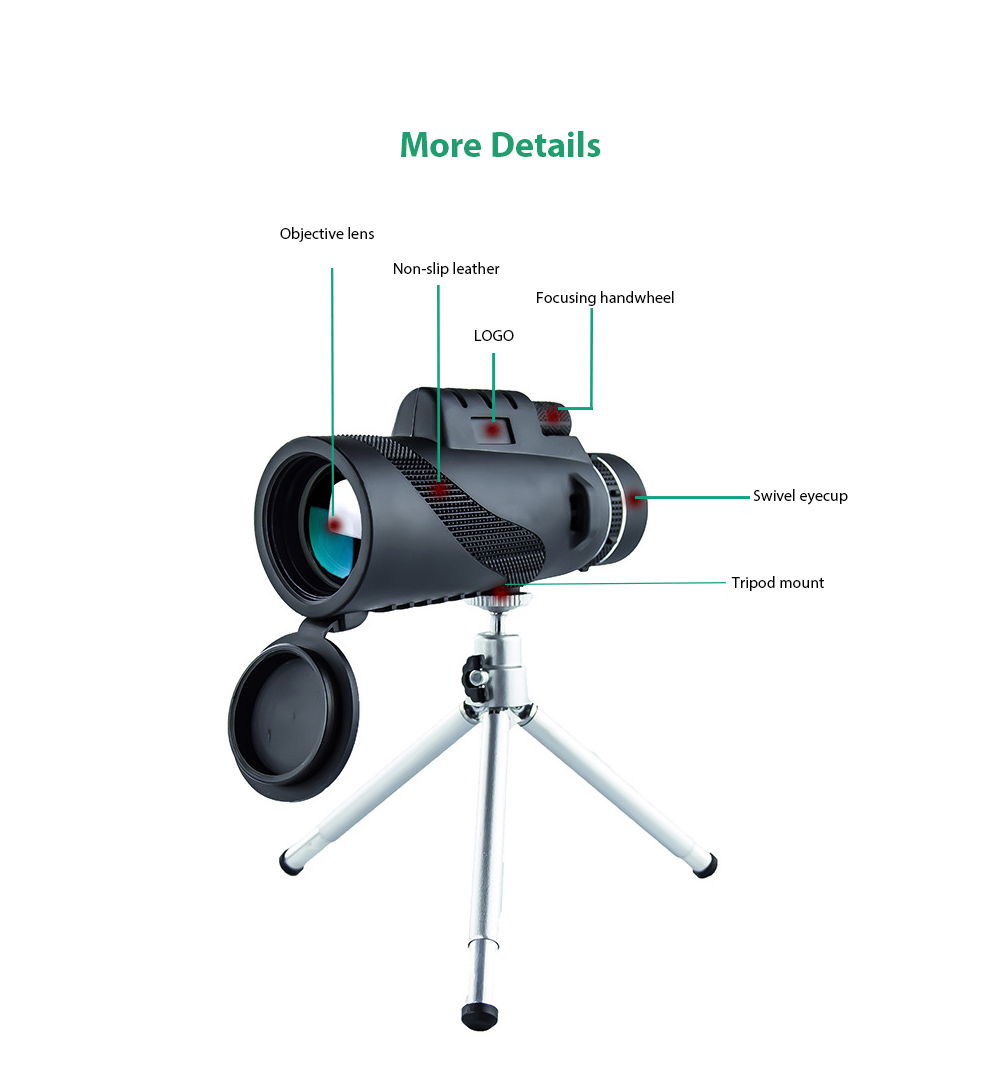 40X60 HD Monocular Telescope - Black