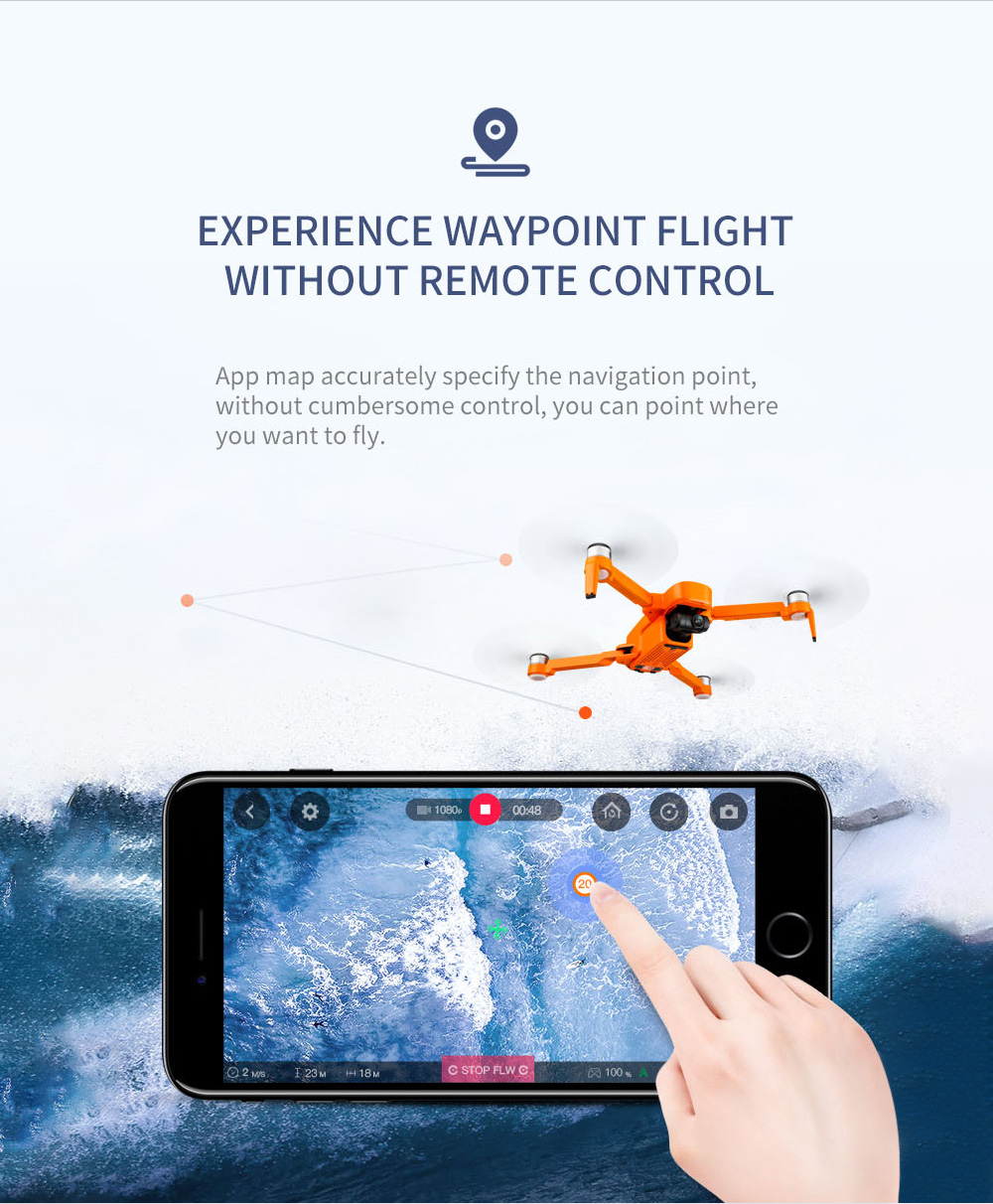 JJRC X17 6K GPS Brushless Dual-axis PTZ Camera RC Drone - Orange One Battery